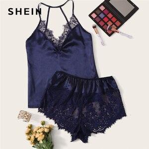 Image 5 - SHEIN Lace Trim Satin Cami Top and Shorts Pj Set Set 2019 Sexy Wireless Lingerie Sets Summer Satin Women Sleepwear