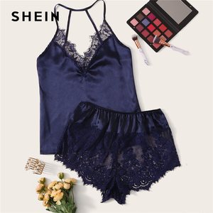 Image 5 - SHEIN koronki wykończenia Satin Cami top i szorty Pj zestaw 2019 Sexy bezprzewodowe zestawy bielizny lato Satin kobiety bielizna nocna