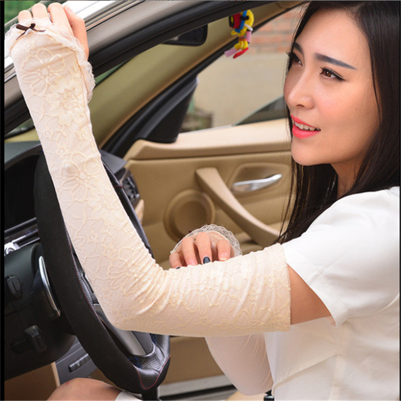New Summer Uv Protection Arm Sleeves Women Sexy White Lace Floral Sleeve Arm Warmers Scar Cover Long Finger Driving Gloves Women