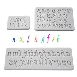 Números de Letras Molde de Silicone Sugarcraft Queque Cozimento Molde Fondant Ferramentas de Decoração Do Bolo