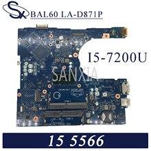 KEFU BAL60 LA-D871P Laptop płyta główna Dell Inspiron 15-5566 oryginalna płyta główna I5-7200U