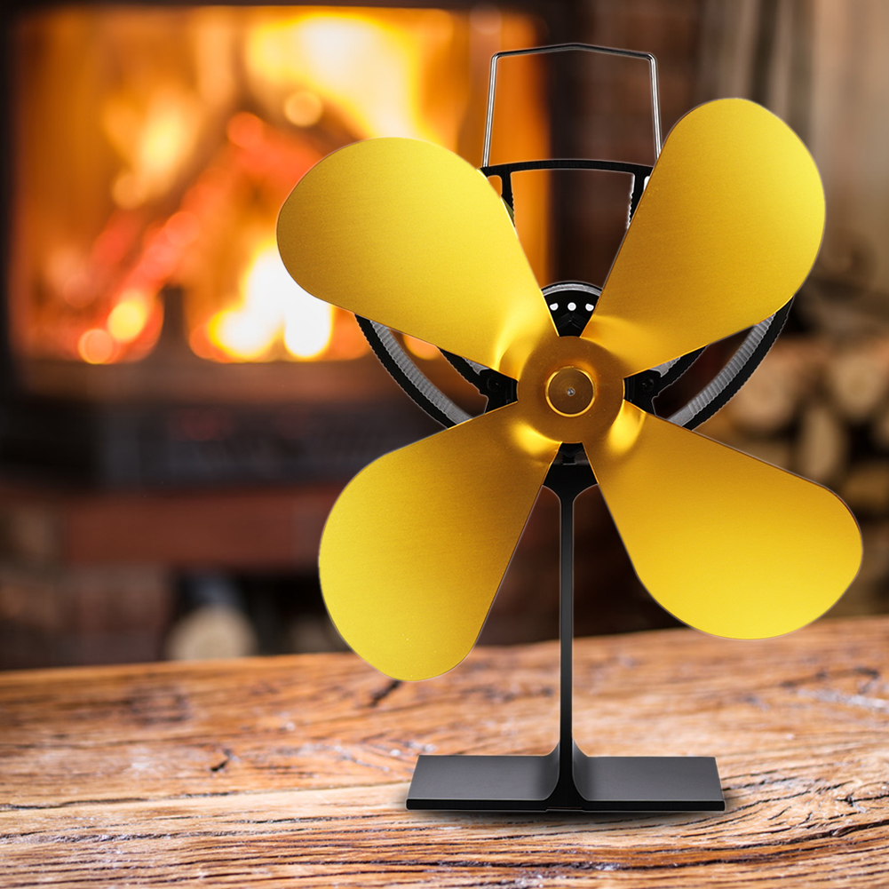 4 Blades Metal Fireplace Fan Lightweight Low Noise Heat Operated Energy-Saving Gold Durable Portable Practical Home Efficient