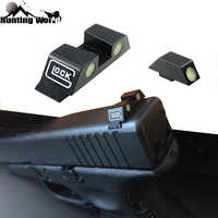 Tactical Green Fiber Dot Sight Glow in the Dark Front Rear Night Sight for Hunting Pistol Glock 17,19,22,23,24,26,27,33,34,35