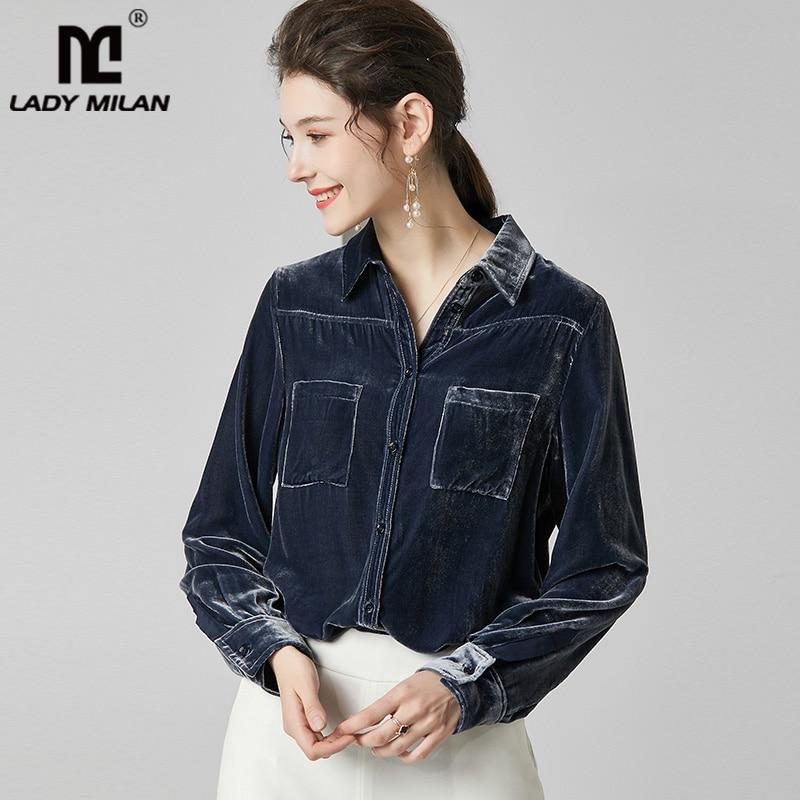 100% Pure soie femmes chemises col rabattu manches longues soie naturelle velours Blouse petit haut