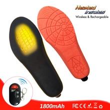 Semelles chauffantes rechargeables avec télécommande sans fil, 1800mAh, chauffe pied pour lhiver, taille européenne 35 46 #, coupées pour sadapter