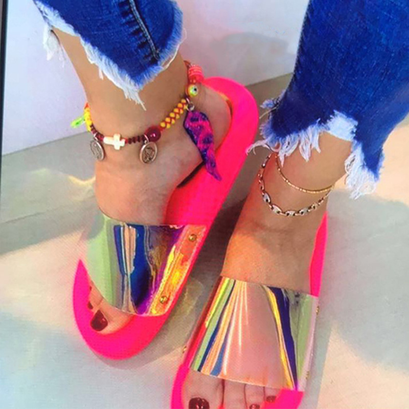 Summer Woman Slippers Candy Color Jelly Shoe Woman Bling Transparent Slides Sequined Flat Flip Flops Women Beach Outdoor Shoes