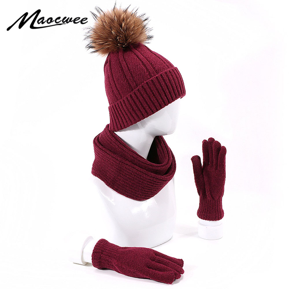 New Fashion Knit Scarf Hat & Glove Sets Solid Color Real Pompon Fur Caps Winter CottonThick Warm Outdoor Comfortable Ski Hats