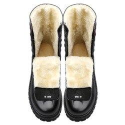 Natürliche Wolle Männer Winter stiefel Große Größe 38 ~ 48 Wärmsten Echtem Leder Russische stil Männer Schnee Stiefel
