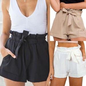 Summer Hot Sale Elegant Girls Ruffles Bottoms Shorts Sexy Female Fashion Casual High Waist Black White Khaki Crepe Shorts