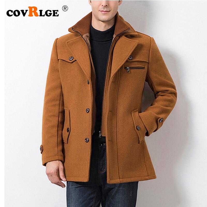 Covrlge Long Slim Men Wool Trench Coat Single-breasted Zipper Fake Two Pieces Lapel Windbreaker Male Autumn Winter Coat MWN002