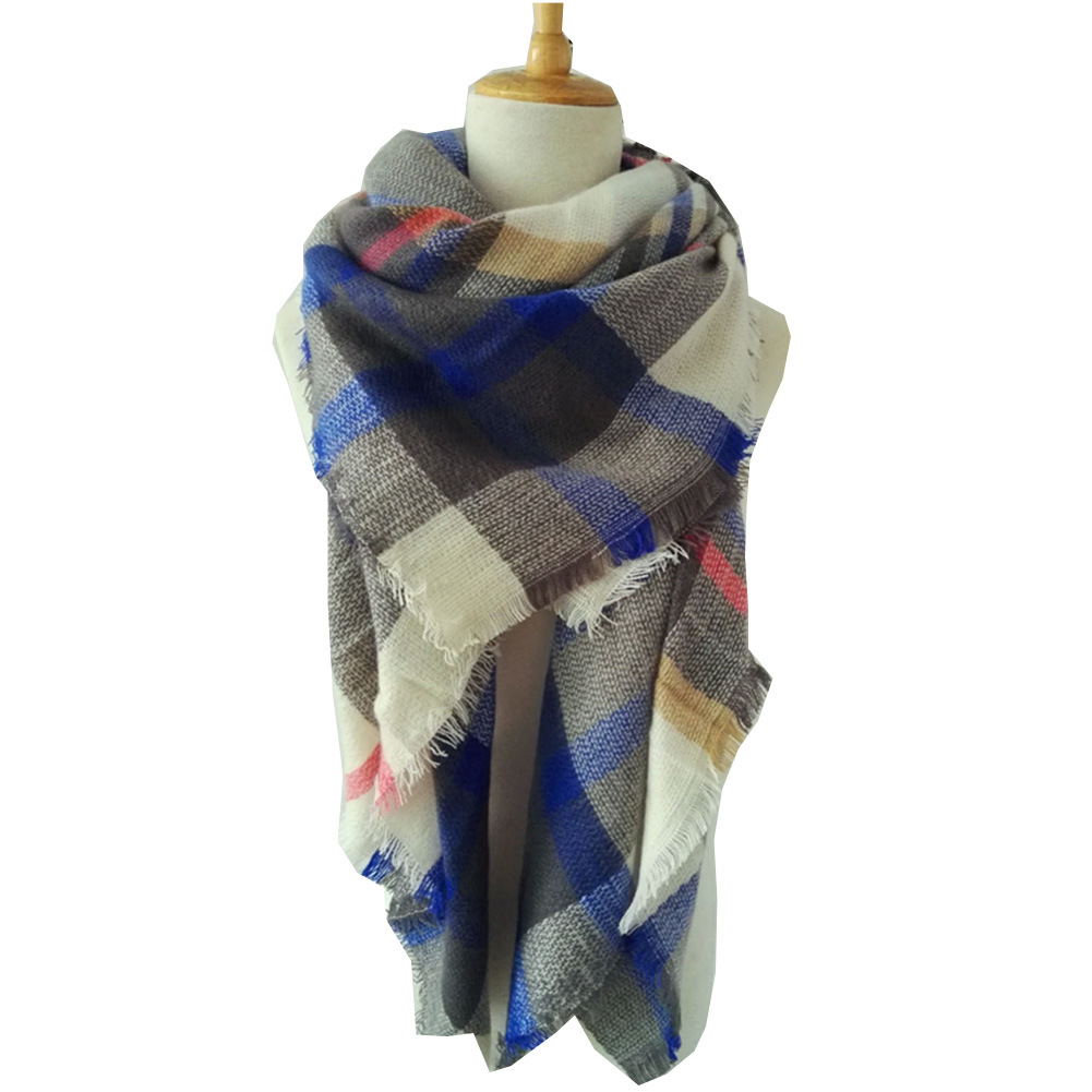 New Style Plaid Scarf Women's Autumn And Winter Warm Shawl Dual Purpose Europe And America Big Brand Foreign Trade Origional Fau