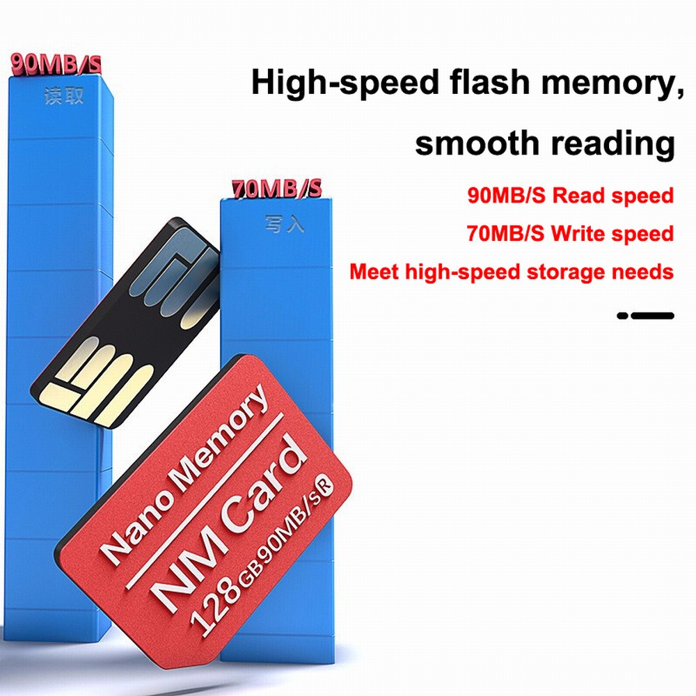 20 Dual-use Type-C USB3.0 High Speed TF/NM Card Reader For Huwei Mate 20/X/RS/P30/P30 Pro NM-Card Nano Memory Card 128GB NM Card (3)
