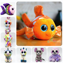 New TY Beanie Boos Cute Clown Fish Plush Toys 5.5 14cm Ty Animals Big Eyes Eyed Stuffed Animal Soft for Kids Gifts