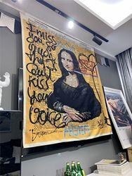 Mona Lisa Graffiti Tapestry Wall Hanging Bohemian Beach Mat Polyester Blanket Yoga Mat Home Bedroom Art Carpet