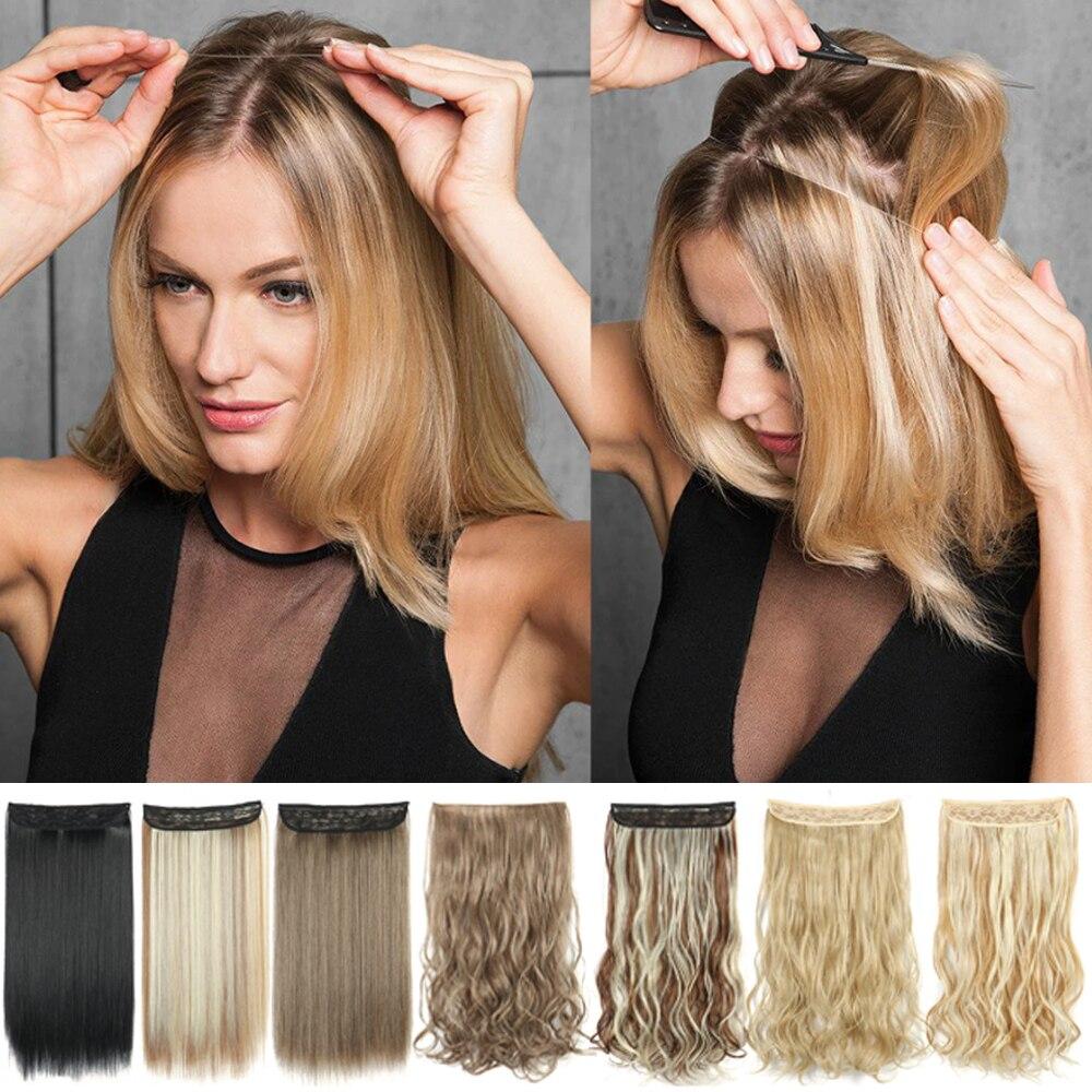 Синтетические накладные волосы без зажима, кудрявые/прямые секретные волосы из натуральной скрытой проволоки, Регулируемые Прозрачные вол...