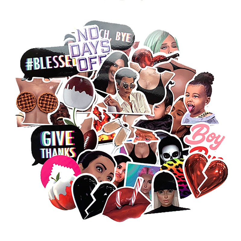 44Pcs Mixed Kim Kardashian Stickers For Car Styling Bike Motorcycle Phone Laptop Travel Luggage Cool Funny Sticker