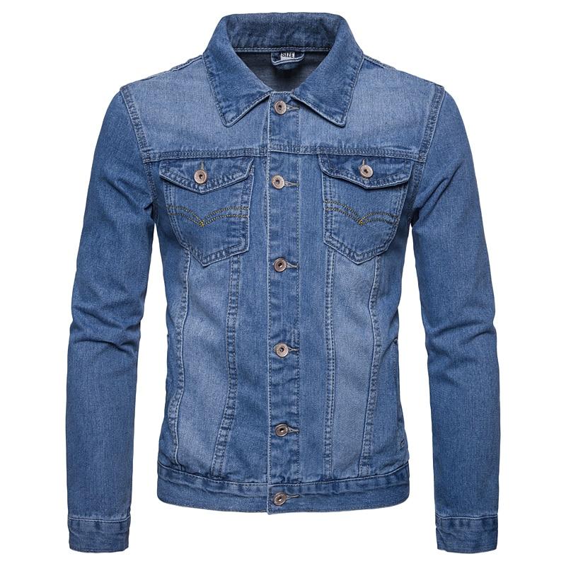 Jacket Men 2020 Spring and Autumn New Solid Color Single Breasted Slim Lapel Large Size Denim Men Jacket