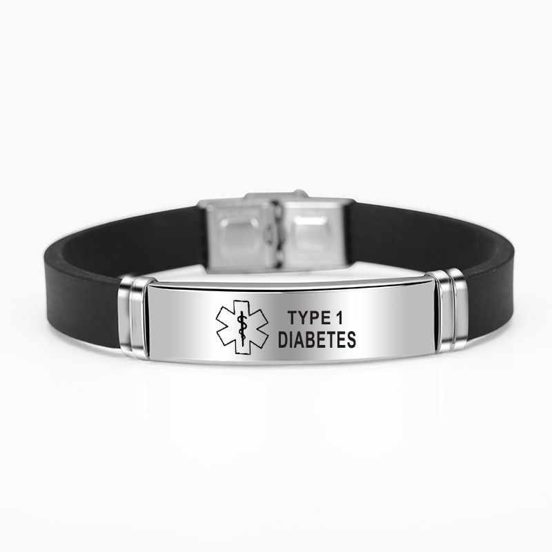 Esporte silicone médica alerta id pulseiras para mulheres dos homens diabetes doença grave emergência lembrar acessório jóias de aço