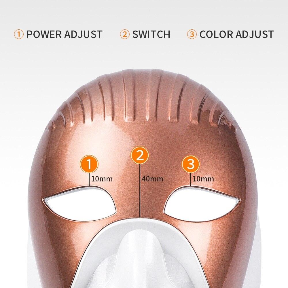 充電式 8 色 Led ライト光子顔ネックマスクしわにきび除去肌の若返り LED フェイスマスクネックスパ  グループ上の 美容 & 健康 からの null の中 3