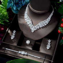 HIBRIDE Fashion Cubic Zircon Wedding Jewelry Set For Women Hot Selling Dress Accessories Crystal 4pcs Sets Jewelry Set N 917