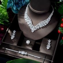 HIBRIDE moda Cubic cyrkon ślubne komplet biżuterii damskiej gorąca sprzedaży akcesoria do sukni kryształ 4 sztuk zestawy biżuterii zestaw N 917