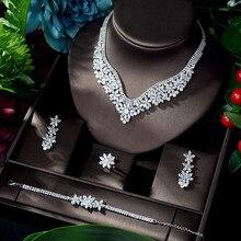 HIBRIDE moda kübik zirkon düğün takısı seti kadınlar için sıcak satış elbise aksesuarları kristal 4 adet setleri takı seti N 917