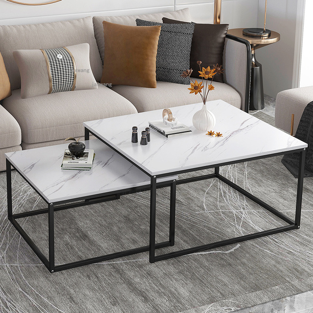 Marble Squared Coffee Table Comb Set 2