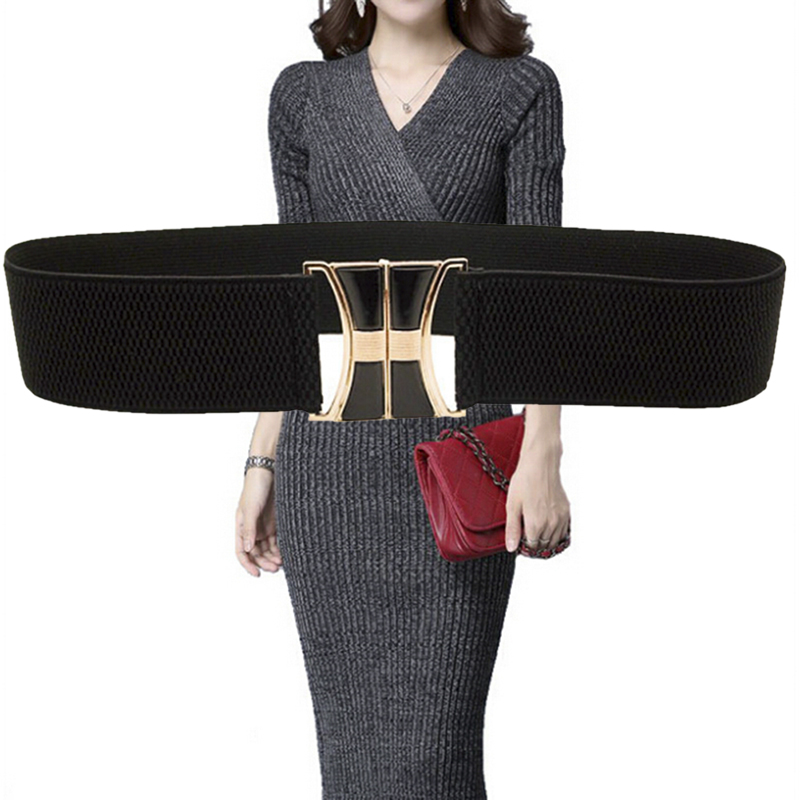 Fashion Women Ladies Wide Elastic Stretch Cinch Waistband High Waist Dress Belt