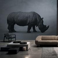 MASAR geometric mosaic pattern animal elements custom murals post modern art wallpaper store decoration wallpaper rhinoceros