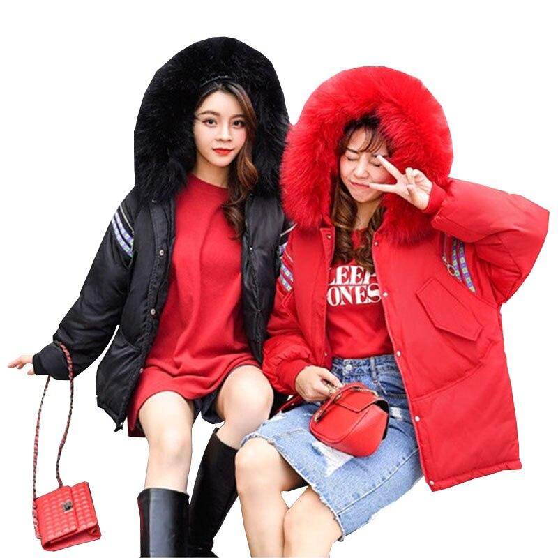 2019 New Winter Down cotton short loose Hooded Big fur collar stripe zipper Thick warm Fashion Women   parka   clothing Female C97