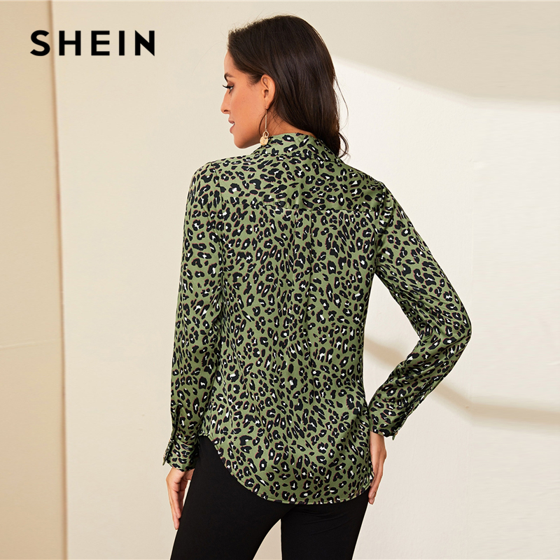SHEIN Green Turn Down Collar Leopard Print Casual Blouse Women Top 2019 Autumn Long Sleeve Button Front Curved Hem Blouse Shirts 2