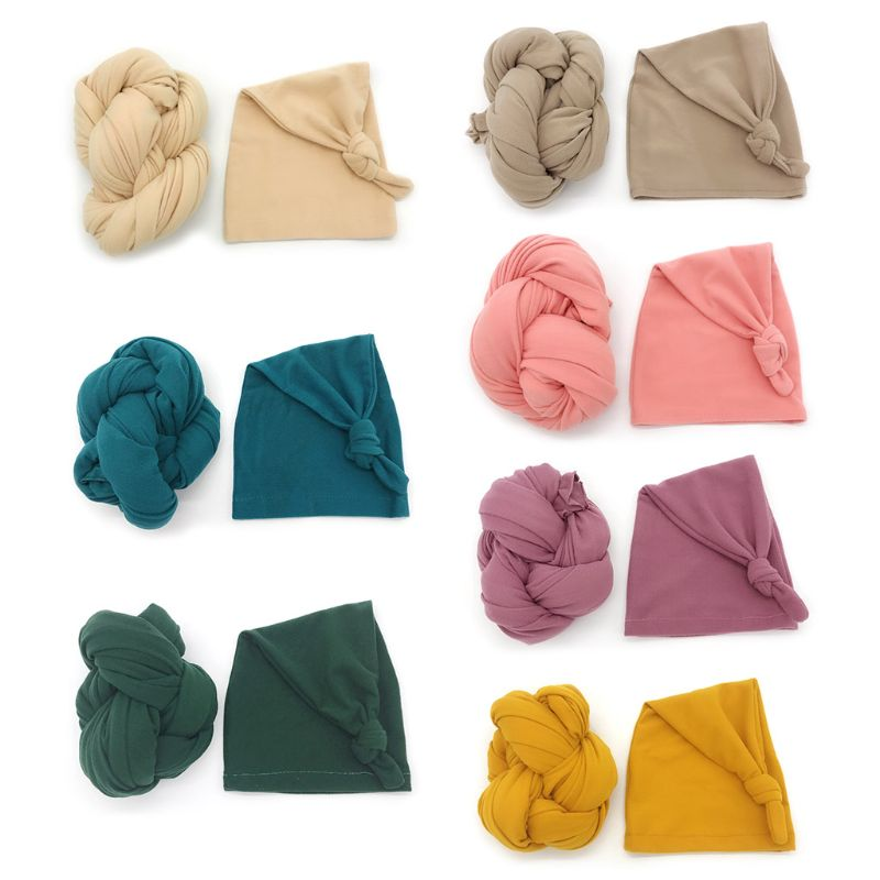 Stretch Baby Wrap+ Hat Newborn Photography Props Soft Solid Color Photo Wraps Infant Shooting Accessories
