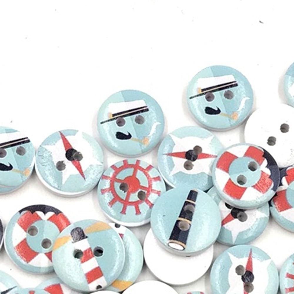 100Pcs DIY Navy Style Wooden Buttons  Mediterranean Series Fastener Buttons For Scrapbook DIY Sewings Art Work