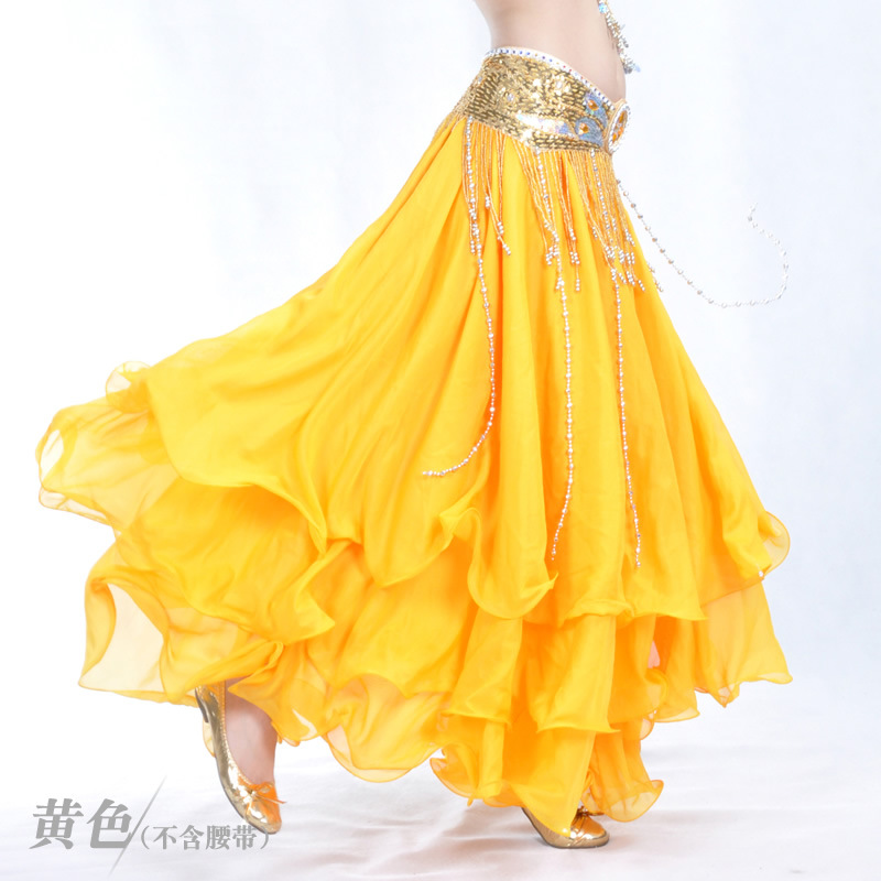 2019 Three-tier Skirt Three-tier Chiffon Curling Belly Dance High-end Skirt Belly Dance 12 Meters Large Skirt Without Waist Belt