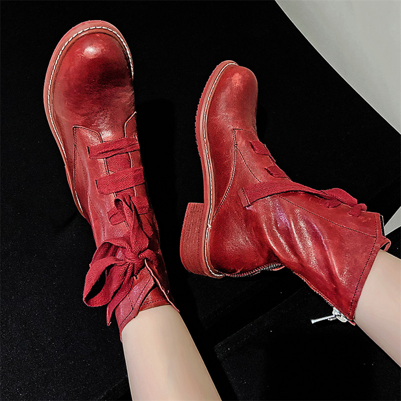 Image 5 - FEDONAS New Warm Comfortable SheepSkin Women Ankle Boots Cross Tied Zipper Platform Short Boots Winter Casual Party Shoes Woman-in Ankle Boots from Shoes