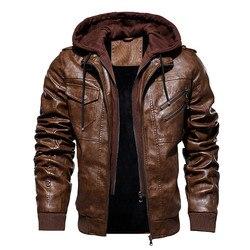 Мужские зимние теплые флисовые куртки и пальто, осенние мужские кожаные куртки со съемной шапкой, верхняя одежда, мотоциклетная кожаная кур...