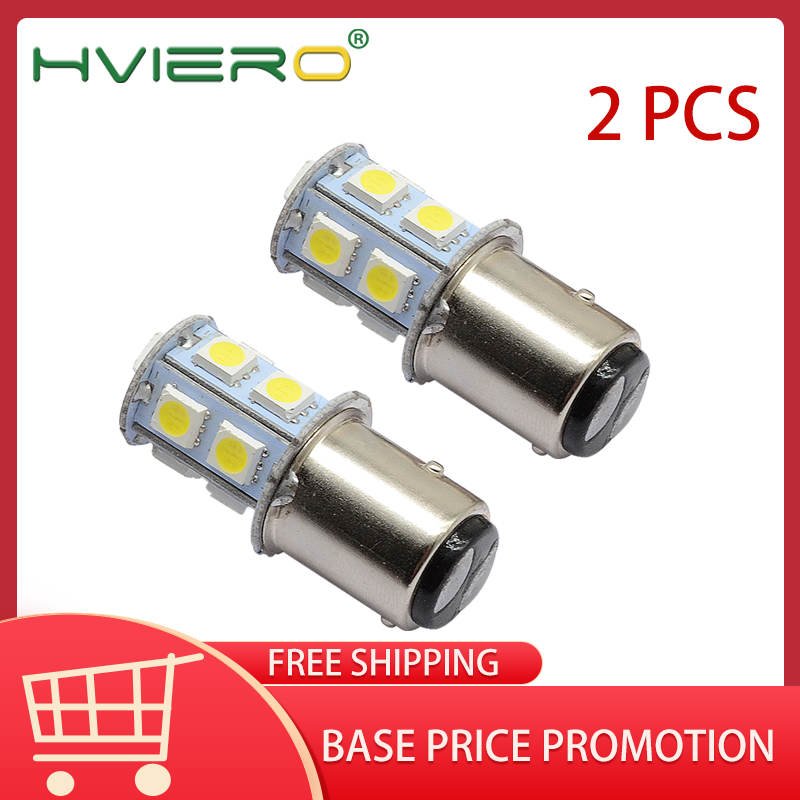 2X White 1156 BA15S 1157 BAY15D BA15D 13Led 5050 Auto Led Turn Signal Lights Brake Tail Lamps Auto Led Rear Reverse Bulbs DC 12V