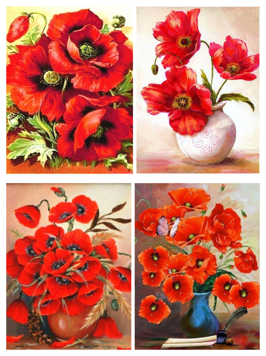 5d DIY Diamond Painting Poppy Vase Flower Full Drilling Diamond Embroidery Picture Diamond Cross Stitch Home Decor Christmas Gif