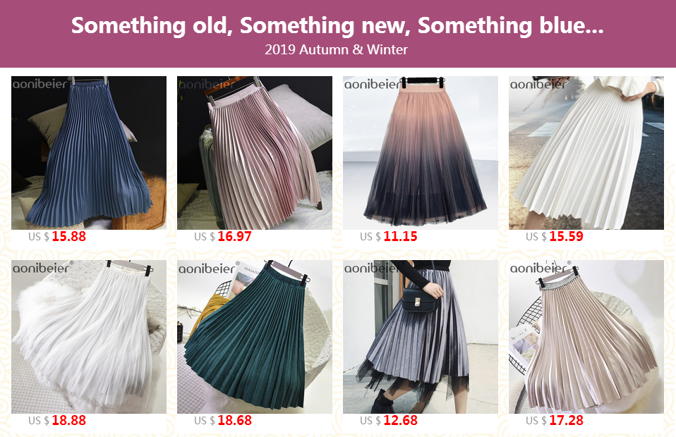 Aonibeier Fashion Women's High Waist Pleated Solid Color Length Elastic Skirt Promotions Lady Black Pink Party Casual Skirts 19