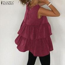 ZANZEA 2021 Elegant Ruffle Tops Women's Peplum Blouses Sleeveless Summer Tunic Female Solid Hollow Blusas Oversized Chemise 5XL