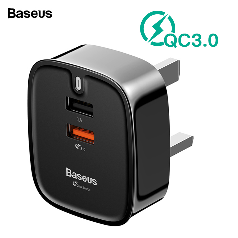 Baseus USB Charger Quick Charge 3.0 UK Plug Double Port Travel Wall Charger Adapter QC3.0 Mobile Phone Charger For IPhone Xiaomi
