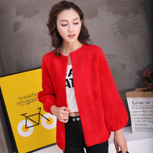 Women Thick Loose Sweater Shrug 3/4 Sleeve Crew Neck Coat Knitted Cardigan Spring Autumn Office Lady Imitation Mink Cashmere