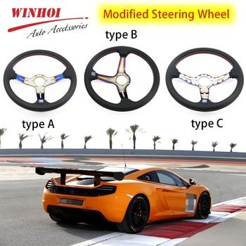 "14"" 350mm Auto Steering Wheel Universal Modified Deep Dish Steering Wheel Go-kart Racing Sports Grilled Blue Steering Wheel"