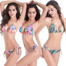 2021 New Push Up Floral Sling Bikini Sets Women Sexy Thong Biquini Two Pieces Swimsuits Girl Beach Bathing Suits Lace Up Bikinis