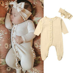 CANIS Pyjamas-Outfits Newborn Baby-Girl-Boy Romper Long-Sleeve Headband 2PCS Cotton Solid