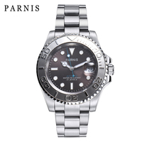 2019 New Parnis 40mm Automatic Deep Sea Series Men Watch Rotating Ceramic Mechanical Men's Watches Safe Folding Clasp Man Clock
