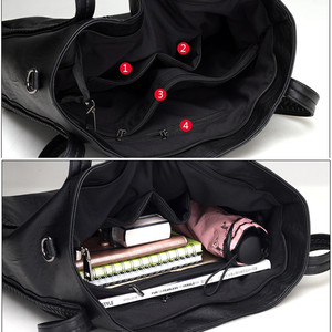 Image 5 - Sacs à main en cuir souple de luxe pour femmes sacs à bandoulière tissés de grande capacité de marque de concepteur dames fourre tout décontractés sacs de voyage noirs