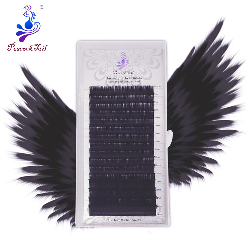 16rows Professional Application Eyelash Extensions Russia Volume Matte Black Individual Natural Soft Eyelashes Mix Peacock Tail
