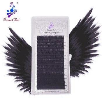 16rows professional application eyelash extensions Russia Volume matte black individual natural soft eyelashes mix Peacock tail