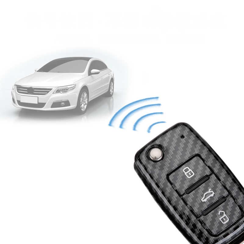 ABS الكربون الأسود حافظة مفاتيح السيارة سلسلة غطاء لشركة فولكس فاجن جولف بورا جيتا بولو جولف باسات سكودا اوكتافيا A5 فابيا مقعد إيبيزا ليون تيجوان